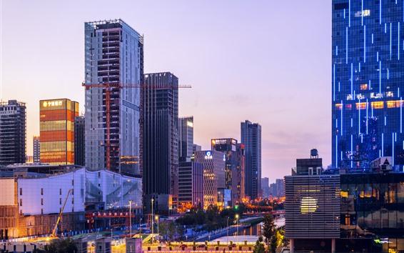 Fondos de pantalla Ciudad al atardecer, rascacielos, luces, Ningbo, China