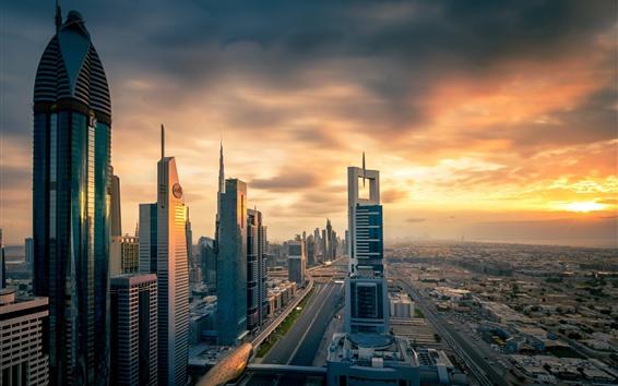 Fond d'écran Ville au coucher du soleil, gratte-ciel, Dubaï, Émirats Arabes Unis