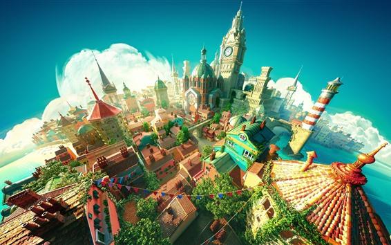 Обои Город, замок, 3D-дизайн