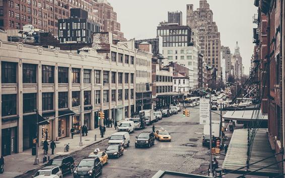 Обои Город, улица, автомобили, здания