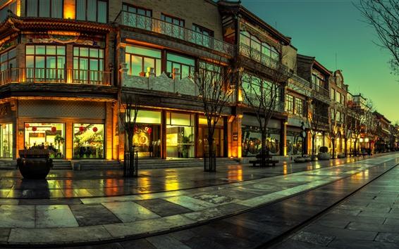 Wallpaper City, street, shop, lights, night, China