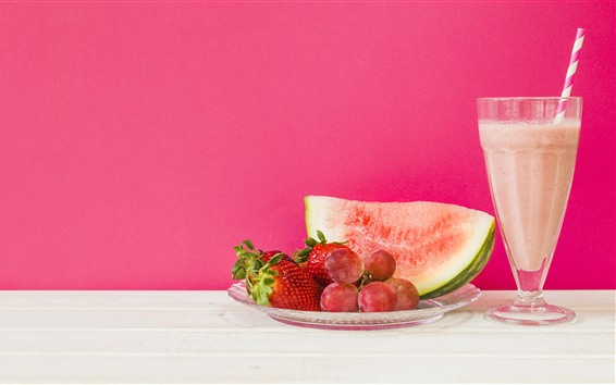 Wallpaper Cocktail, watermelon, grapes, strawberries, pink background