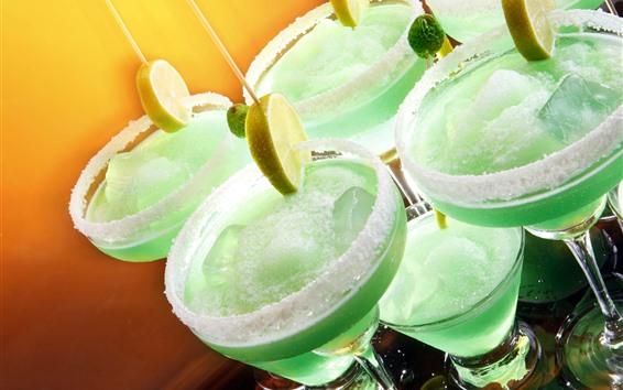 배경 화면 칵테일, 유리 컵, 얼음, 레몬 슬라이스