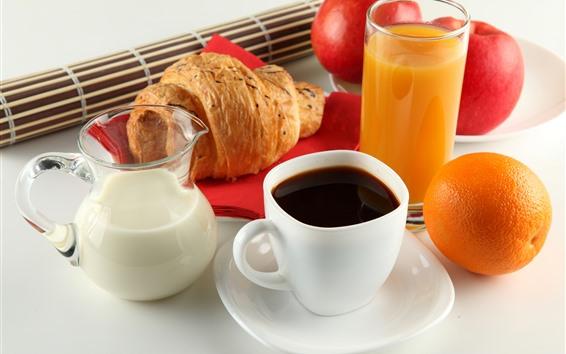 Wallpaper Coffee, milk, juice, bread, orange, apple