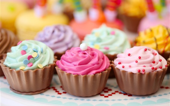 Wallpaper Colorful cupcakes, cream, food, dessert