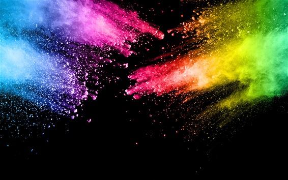 Fondos de pantalla Pintura colorida, salpicadura, colores del arco iris, abstracto.