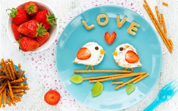 Papéis de Parede Café da manhã criativo, pássaros, sanduíches, morango, amor