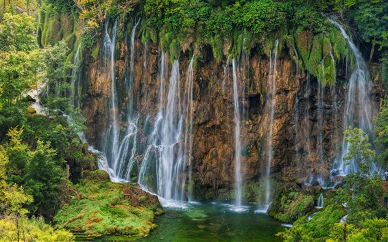 Wallpaper Croatia, Plitvice Lakes National Park, beautiful waterfall