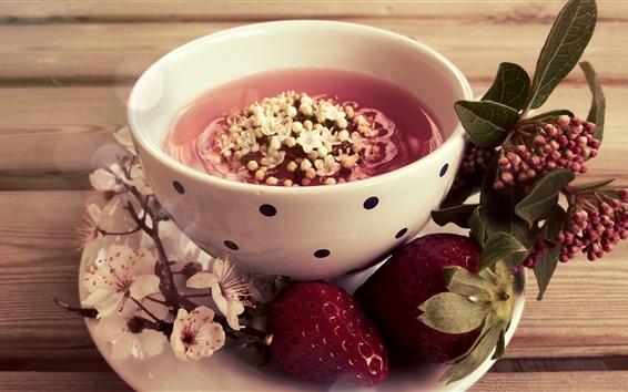Wallpaper Cup, flowers tea, strawberry