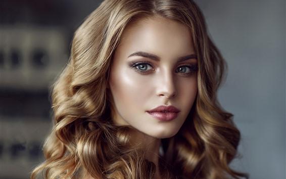 壁纸 卷发女孩,金发,脸