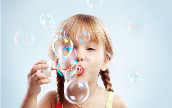 Wallpaper Cute child girl play bubbles