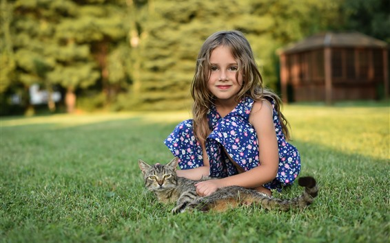 Wallpaper Cute little girl and kitten, meadow