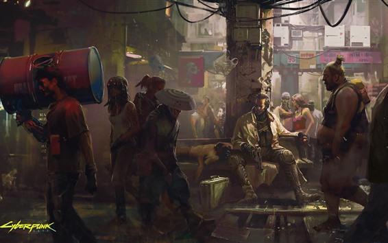 Fondos de pantalla Cyberpunk 2077, calle de la ciudad, gente, cuadro del arte