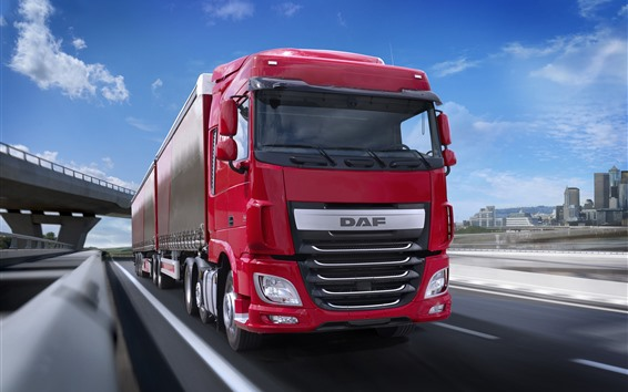 Wallpaper DAF red truck