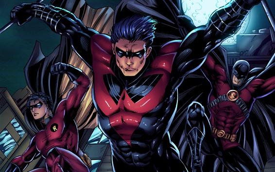 Papéis de Parede DC Comics, Robin Vermelho, Robin, Batman, super-heróis, imagens de arte