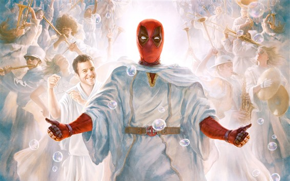 Fondos de pantalla Deadpool 2, cuadro del arte, burbujas