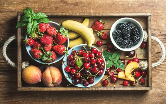 Papéis de Parede Deliciosa fruta, morango, cereja, banana, pêssego, amora