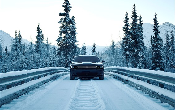 Wallpaper Dodge car front view, snow, winter, road