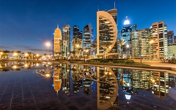 Wallpaper Doha, Qatar, Sheraton Park, skyscrapers, city, nights, lights, water reflection