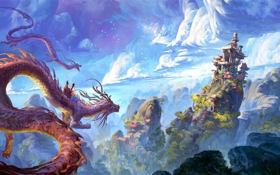 Fondos de pantalla Dragón, montañas, edificios, nubes, dibujo artístico.