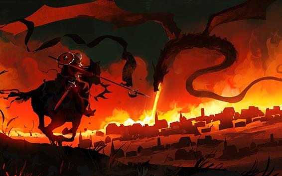 Fondos de pantalla Dragón, Guerrero, fuego, imagen de arte fantasía