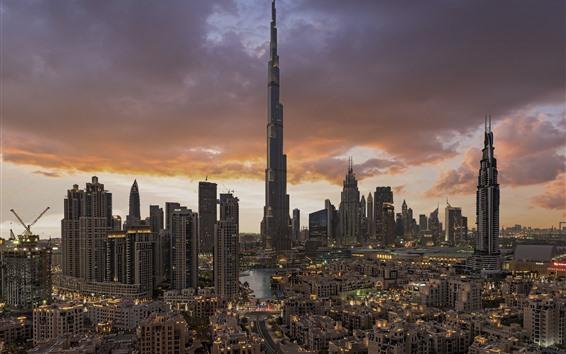 Wallpaper Dubai, UAE, cityscape, skyscrapers, city, clouds, dusk
