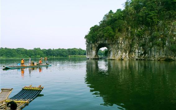 Fondos de pantalla Colina del tronco del elefante, río, Guilin, Guangxi, China