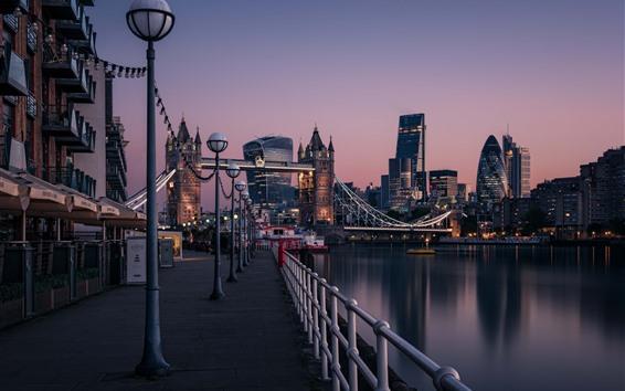 Wallpaper England, London, Thames River, Tower Bridge, city, dawn, lights, street