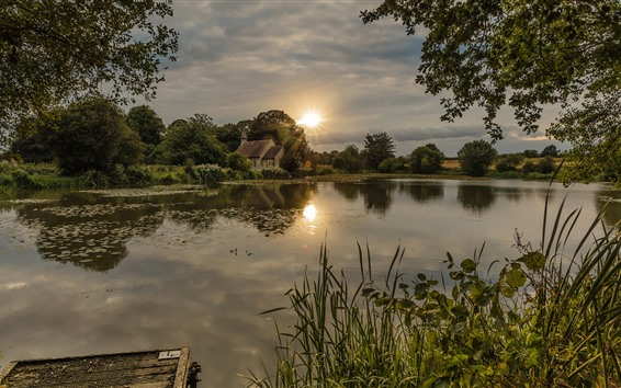 Wallpaper England, river, house, trees, village, sun