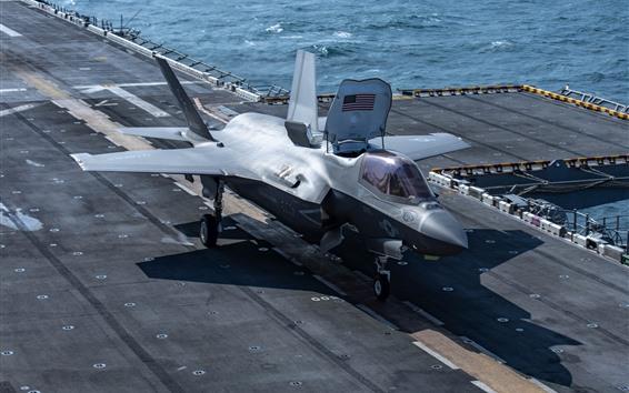 Wallpaper F-35B Lightning II fighter, deck