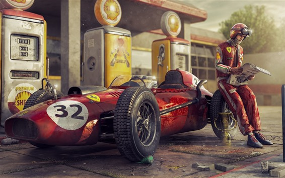 Fondos de pantalla Ferrari F1, coche de carreras, retro, piloto.