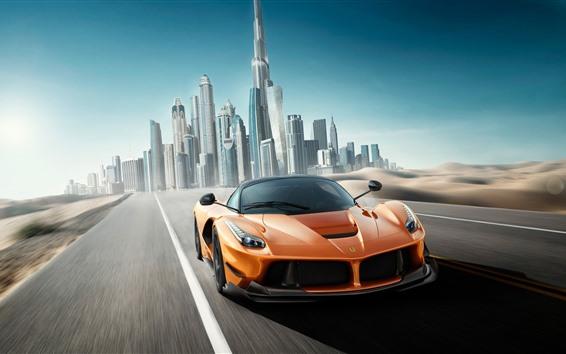 Обои Ferrari оранжевый суперкар скорость, Дубай