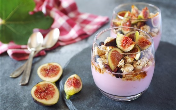 Wallpaper Figs, dessert, muesli, yogurt