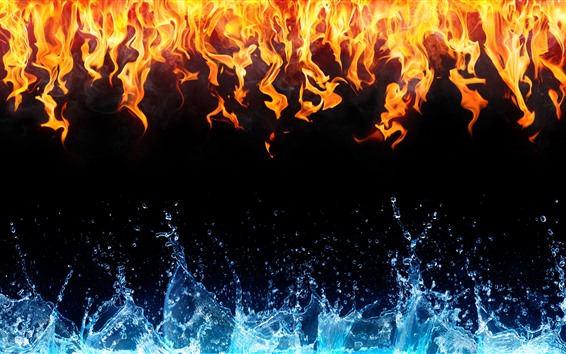 Wallpaper Fire and water, black background