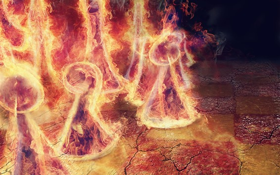 Wallpaper Fire, flame, chess