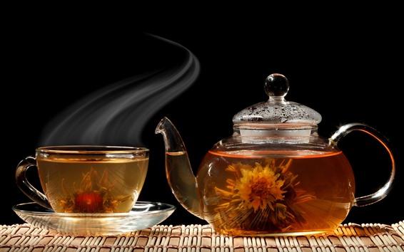 Wallpaper Flowers tea, cup, kettle, steam