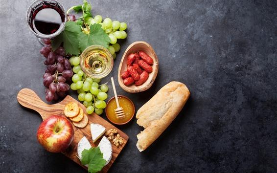배경 화면 음식, 포도, 사과, 치즈, 빵, 소세지, 와인