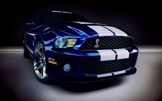 Wallpaper Ford Mustang blue car front view, headlight