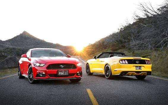 Обои Ford Mustang красные и желтые машины, дорога, солнечные лучи