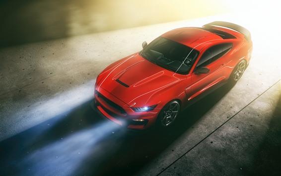 Fond d'écran Ford Mustang vue de dessus de voiture rouge, phare