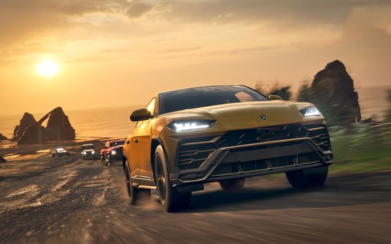 Обои Forza Horizon 4, Lamborghini Урус внедорожник автомобиля вид спереди