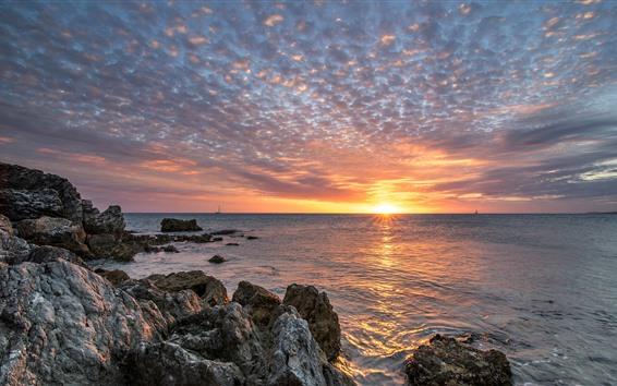 Обои Франция, Новая Каледония, море, скалы, закат, облака
