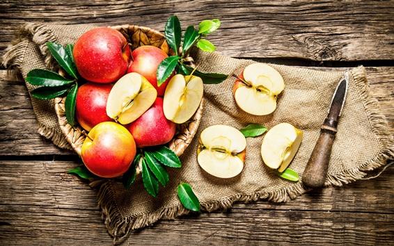 Wallpaper Fresh red apples, fruit, knife