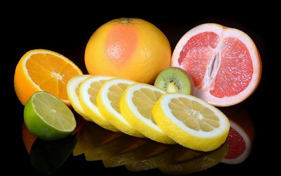 배경 화면 과일, 오렌지, 키위, 자몽, 석회, 슬라이스