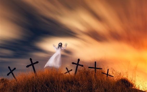Обои Призрак, кладбище, крест, ужас