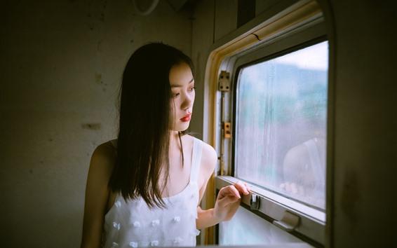Fondos de pantalla Niña mirar por la ventana, tren