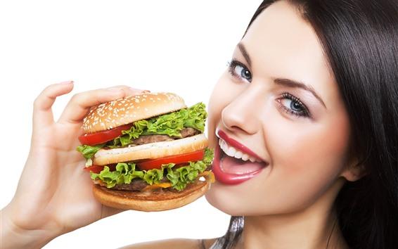 Wallpaper Girl want to eat hamburger
