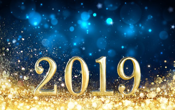 Wallpaper Gold 2019 New Year, shine