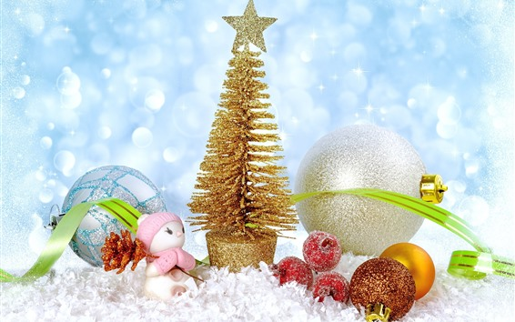 Wallpaper Golden Christmas tree, balls, toy, snow, shine