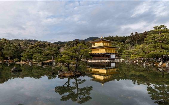 Fondos de pantalla Templo del pabellón dorado, estanque, árboles, Japón